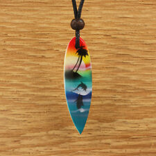 Wood Surfboard Pendant Necklace Surf Mens Womens Blue Green Beach Dolphin