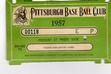 1957 Pass Ticket Pittsburgh Pirates Roberto Clemente 22 YR Old/4 Season HR/2 Pit