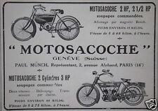 PUBLICITÉ 1912 MOTO MOTOSACOCHE 2 CYLINDRES 3 HP GENÈVE SUISSE