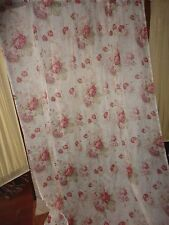 WAVERLY VINTAGE NORFOLK ROSES RED FLORAL CREAM (1) SHEER CURTAIN PANEL 58 X 86