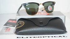New Authentic RAY BAN ALUMINIUM CLUBMASTER Gold/POLARIZED GREEN RB3507 136/N5 49