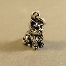 .925 Sterling Silver 3-D DETAILED CAT CHARM NEW Pendant Kitty Kitten 925 CA16