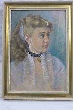 """Pastell  """" Porträt  einer jungen Frau """" von Ingeborg von Laffert  1956"""