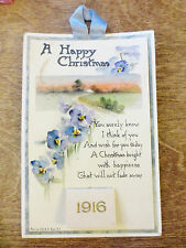 1916 Small Calendar Card Seasons Greetings Holiday Happy Christmas Poem Complete