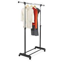 New Rolling Garment Rack Clothes Hanging Closet Organizer Storage Expandable