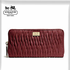 NWT COACH MADISON ACCORDION ZIP GATHERED TWIST LEATHER WALLET 49609 LI/Brick Red