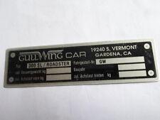 Typenschild gullwing Car Gardena 300 SL Roadster S13