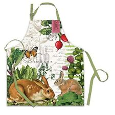 New Michel Design Works Garden Bunny Kitchen Apron Cook Chef 100% Cotton