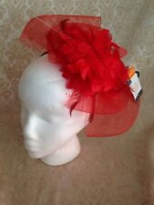 Dark Pink  Floral Flower Puff Fascinator Headband Hat