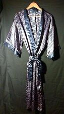 "Men's STATE O MAINE"" Men's Long Navy Satin Robe w/ Sash Kimono one size"
