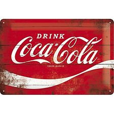 Coca Cola Logo Red Wave embossed steel sign 300mm x 200mm  (na)