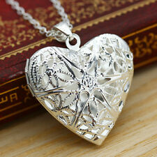 New Lovely Woman Silver Picture Locket Hollow Heart Photo Pendant Chain Necklace
