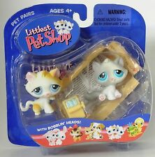 Littlest Pet Shop 2004 blue eyes gray and tan kitty cats w/sardines new in pack