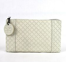 New BOTTEGA VENETA Intrecciomirage Leather  Clutch Pouch Bag White 301496 9904