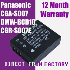 Battery CGA-S007 DMW-BCD10 for Panasonic Lumix DMC-TZ1 DMC-TZ2 DMC-TZ3 Series