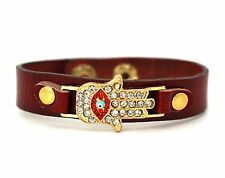 Hamsa Hand Evil Eye Gold Tone Cubic Zerconia Red Leather Adjustable Bracelet