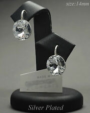 SILVER PLATED - Earrings made with Swarovski Crystals 14mm RIVOLI