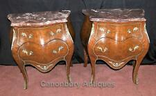 Pair Empire Bombe Bedside Chests Commodes Nightstands French Walnut