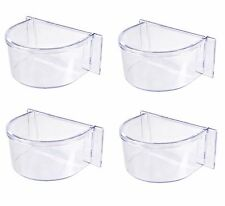 4 Pcs Clear Transparent Feeder & Water Bowl for Bird Budgie Parrot Parakeet Cage