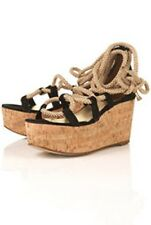 TOPSHOP WORLD BLACK SUEDE ROPE LACEUP RETRO KITSCH PLATFORM EMO CORK WEDGES 6 39