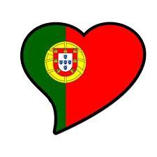 "Portugal Flag Heart car window bumper sticker decal 5"" x 3"""
