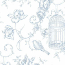 Lovely Birds Birdcage Floral Blue Wallpaper Double Roll Bolts FREE SHIPPING