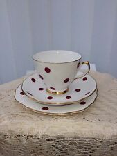 Royal Vale Red Polka dot Trio , Cup/saucer/cake plate part tea set ? (5 avail)