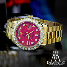 Red Face Diamond Rolex Presidential 18K Yellow Gold 18038 Single Quick Set