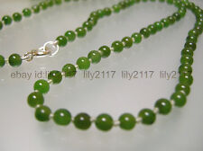 AA Vintage top quality 4mm nature green Jade single strand Necklace silver clasp