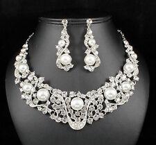 Wonderful Pearl Clear Austrian Rhinestone bib Necklace Earring Set Bridal N891s