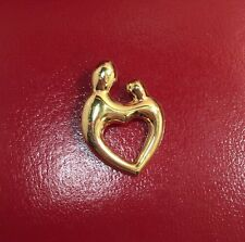 WoW Janel Russell 14k Yellow Gold Mother Child Heart Pendant New Mom Love Charm
