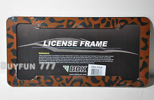 LEOPARD CHEETAH LICENSE PLATE FRAME CAR ACCESSORY ANIMAL PRINT 1 PIECE PLASTIC