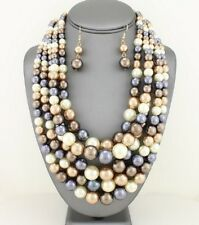Five Layers Multi Brown Grey & Cream Faux Pearl Gradual Chunky Necklace Earring