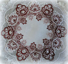 "16"" Doilies SET OF 2   Round  Victorian DECADENT WHITE  & Burgundy European Lace"