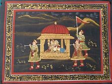 VINTAGE HANDMADE WATER COLOR MINIATURE PAINTING INDIAN DOLI/MARRIAGE PROCESSION