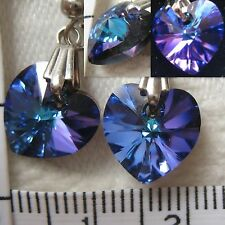 Handmade Earrings using SWAROVSKI element 1cm AB crystal heart Heliotrope blueUS