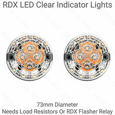 2 RDX LED 73mm Clear Indicator Lights For Land Rover Defender 90 110 Kit Cars