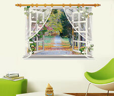 3D Window Colorful Flowers Forest Road Wall Stickers,Wall Decals SK_FUYU_C