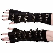 POIZEN INDUSTRIES GOTHIC ARM WARMERS GLOVES BUCKLES STEAMPUNK PUNK METAL STRAPS
