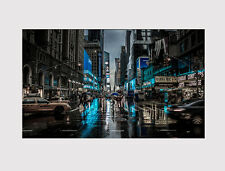NEW LARGE CANVAS WALL ART NEW YORK NIGHT STREET CARS ROOM Print picture 110