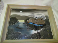 Vintage Japanese Silk Print Man in Boat Houses by Lake Signed