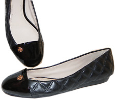 Tory Burch CLAREMONT Black Quilted Leather Flats Ballet Pump Ballerina Shoe 8