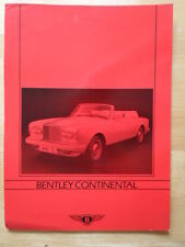 BENTLEY Continental Convertible c1985 brochure - like Rolls Royce Corniche