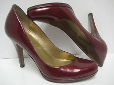 TAHARI Women's LOLLY Cranberry Red Leather CLASSIC PUMPS HEELS ~ Like Nu ~ 5.5M