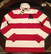 Ralph Lauren Rugby Polo Long Sleeve Shirt Sz Medium Red & Cream New W Tags