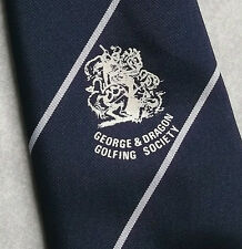 GEORGE & DRAGON GOLFING SOCIETY TIE VINTAGE NAVY 1970s 1980s BY ALEC BROOK GOLF