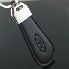 LG91 Black PU Leather Drop Keyring For Ford Car Logo Key Ring Keychain Gift