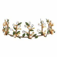 Baroque Crown Tiara Gold Half Head Hair Headdress Clear Rhinestone Leaf Green
