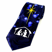 Nativity Star Mens Necktie Christmas Religious Christian Jesus Blue Neck Tie New