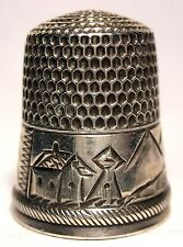 Stern Bros. Sterling Silver Scenic Thimble with Buildings & Mountains  c1890s